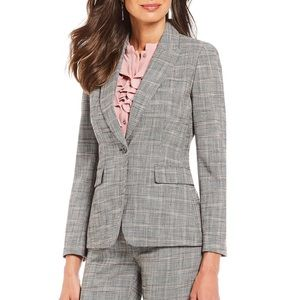 Tahari ASL Plaid One- Button Blazer Grey/Pink